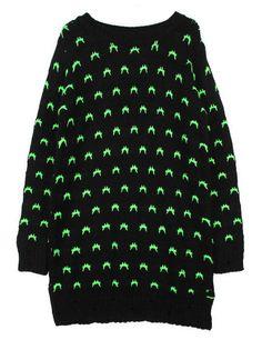 Black Long Sleeve Neon Pattern Loose Sweater US$30.82