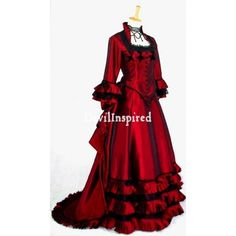 red victorian gown   Home > Victorian Clothing > Romantic Red Victorian Dress