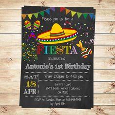 Birthday Mexican Fiesta Party Invitations por DIYPartyInvitation