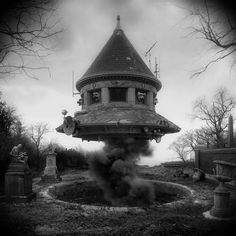 Sinister Architecture Constructed from Archival Library of Congress Images by Jim Kazanjian  http://www.thisiscolossal.com/2015/01/deranged-architecture-jim-kazanjian/
