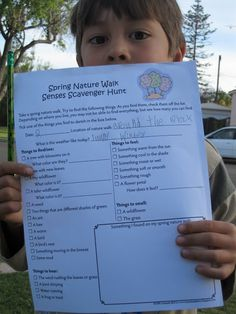 Spring nature scavenger hunt. Could be fun to do at Nanni and Poppi's house for the kids.