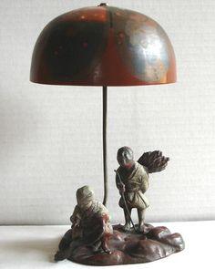 Vintage Asian Spelter Sculpture Figurine Peasants Bronze Umbrella Bell Doorbell | eBay
