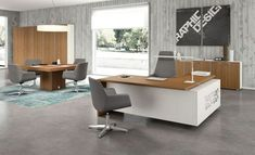 This Modern Office Desk Design Features Clean Lines, Floating Tops,  Beautiful Italian Laminate Finishes