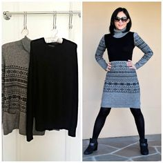 Turn 2 Sweaters Into a Sweater Dress - Turn 2 Sweaters Into a Sweater Dress This is great! Turn 2 old sweaters into a dress! Diy Clothes Refashion, Sweater Refashion, Refashioning Clothes, Refashioned Clothing, Dress Out, Diy Dress, Ropa Upcycling, Alter Pullover, Diy Kleidung