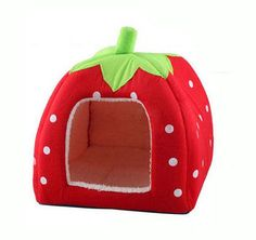 Strawberry Pet Bed, this adorable little house has 3 sizes to fit anything from a Guinea Pig to medium size Dogs.