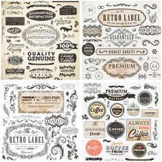 4 sets with vector retro and vintage decorative design elements, such as grunge retro labels, ornate frames with vintage tracery, decor elements, floral dividers, ornaments, flourish, volutes, borders, twirls, different vector classic floral embellishment, ribbons, etc. Format: eps, ai stock…