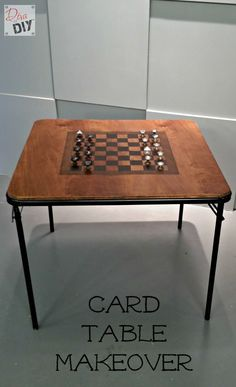Create an amazing game table with a dumpster-bound card table makeover. The stained checkerboard and salvaged cabinet door knobs add unexpected character.
