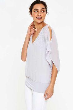 Grey Embellished Sparkle Top - Tops - Clothing - Wallis Europe