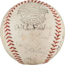 A 1934 All Star Team signed baseball from the second All Star game.
