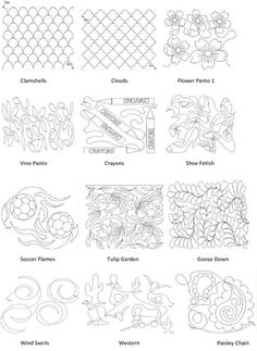 Pantograph patterns and continuous line block patterns | Quilting ... : longarm quilting designs free - Adamdwight.com