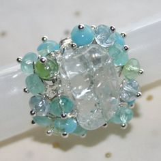 Water Fall Aquamarine Quartz Nugget Ring with Crystals SS 925 (ADJUSTABLE) by Maru Jewelry Designs