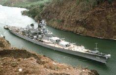 USS New Jersey (BB-62) transiting the Panama Canal.