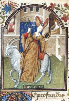 British Library, Yates Thompson detail of f. Book of Hours, Use of Rome (& Dunois Hours& Paris, c. 1440 - c. 1450 (after & Moda Medieval, Medieval World, Medieval Art, Renaissance Art, Medieval Fashion, Medieval Clothing, Illuminated Letters, Illuminated Manuscript, Potnia Theron