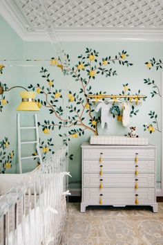 girl nursery decor with lemon tree wallpaper, feminine girl nursery design, traditional elegant nursery with lattice ceiling Baby Bedroom, Nursery Room, Kids Bedroom, Bedroom Decor, Room Baby, Room Girls, Nursery Gray, Kids Rooms, Bedroom Ideas