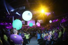 Helium-filled Zygote balls, which were printed with sponsors' names, changed color when touched at a retail conference.  Photo: Courtesy of Cievents