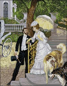 """After artwork """"A Visit"""" by Vladimir Pervuninsky (Russian, ) Cute Cross Stitch, Beaded Cross Stitch, Cross Stitch Designs, Cross Stitch Patterns, Cross Stitch Landscape, Vintage Cross Stitches, Beautiful Paintings, Photo Wall, Embroidery"""