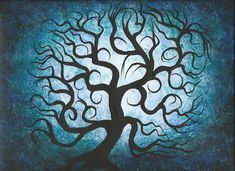 Tree painting Blue Curly branches Original fine art by treeartist, $45.00