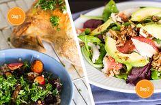 2 opskrifter: 1. Citronkylling og bagte rodfrugter & 2. Kyllingesalat med grape & avokado