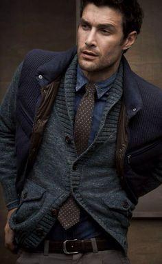Brown dot tie on denim. Clever.