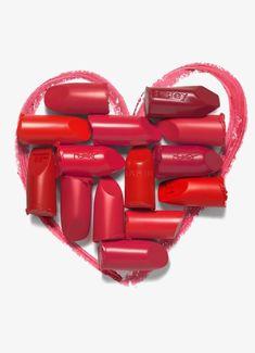 красная помада, помада, в форме сердца, помада Изображение PNG