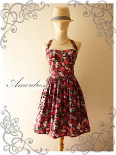 Floral Bridesmaid Dress Red Rose Floral Sundress by Amordress