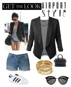 """""""I did my best"""" by bby-jayy ❤ liked on Polyvore featuring Victoria Beckham, MANGO, LE3NO, ABS by Allen Schwartz, Yves Saint Laurent, adidas, GetTheLook and airportstyle"""