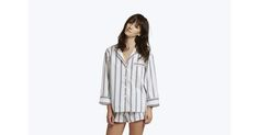 The Marina Pajama Shirt is a comfortably oversized top for those times when lounging in your underwear is the order of the day. Fine cotton poplin fabric in a custom regimental stripe, slim piping trim, French seams, chest pocket, and an open neckline. A perfect companion to the Eve Sleep Undies, Marina Pajama Pants or the Paloma Pajama Shorts. Fabric from Italy.