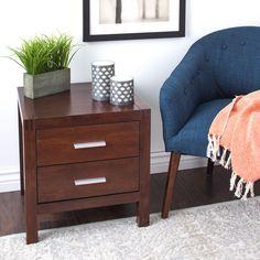 Creighton Walnut Cherry 2-drawer Mid-century Style Nightstand