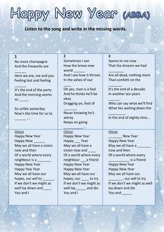 HAPPY NEW YEAR (ABBA) - Ficha interactiva inglés secundaria