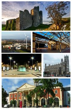 Clockwise from top: Castle Roche, Clarke Station, St. Patrick's Pro-Cathedral, The Marshes shopping centre, Market Square, Dundalk Institute of Technology