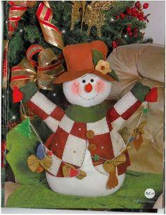 Hombre de nieve Christmas Stocking Pattern, Christmas Snowman, Christmas Stockings, Christmas Wreaths, Christmas Crafts, Christmas Ornaments, Church Crafts, Snowman Crafts, Merry