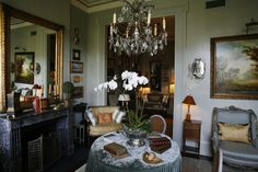 The living room. The historic Faulkner House on Pirate's Alley in the French Quarter