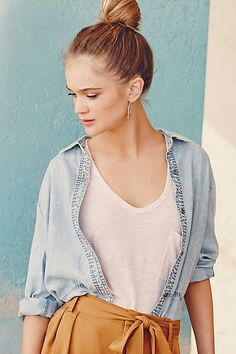 Scooped Linen Tee - anthropologie.com #anthrofave #anthropologie