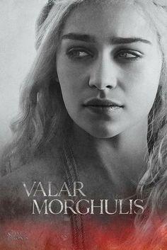 "Game of Thrones Season 4 Poster - ""Valar Morghulis: All Men Must Die"" Daenerys Targaryen (Emilia Clarke), Valar Morghulis, Valar Dohaeris, Daenerys Targaryen, Khaleesi, Cersei Lannister, Game Of Thrones Saison, Game Of Thrones Cast, Winter Is Here, Winter Is Coming"