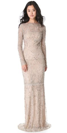Marchesa Beaded Lace Gown | SHOPBOP