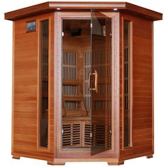 HeatWave Hudson Bay 3 Person Corner Unit Cedar Infrared Sauna with 7 Carbon Heaters EZ Touch Control Panel Oxygen Ionizer CHROMOTHERAPY System Recessed Interior Lighting and BuiltIn Sound Click the image for detailed description