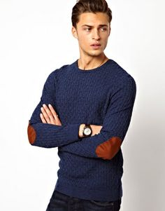 Cable Jumper with Elbow Patches