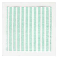 20 serviettes en papier à rayure aqua