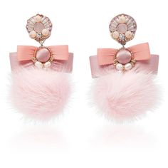 Ranjana Khan Pale Pink Fur Pom Earrings (31.230 RUB) ❤ liked on Polyvore featuring jewelry, earrings, pink, accessories, ranjana khan jewelry, ranjana khan, pom pom jewelry, pom pom jewellery and pink jewelry