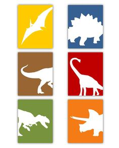 Dinosaur Nursery Wall Art coordinates with Dwell by LittlePergola, $84.00