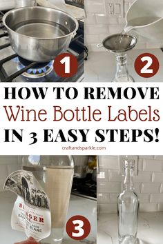 For your next wine bottle craft, you might need to remove the label. Here's a tutorial on how to easily remove the label in one piece! This hack will let you reuse the labels of your favorite wine bottles in other projects. #winebottlecraft #wineprojects #crafthack Wine Craft, Wine Bottle Crafts, Wine Bottles, Remove Wine Bottle Labels, Wine Cork Monogram, Wine Cork Coasters, Wine Cork Projects, Recycled Wine Corks, Diy Gifts For Dad