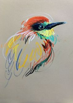 Animalines - Bee-eater • original lines drawing by Tilen Ti