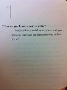 How do you know it's over? ...