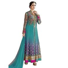 Treditional sky Blue and pink net Anarkali Suit Dress Material with pink Color Silk Bottom, Sky blue Color Net Dupatta .It contained the work of Embroidery with lace border.The Salwar Suits Which can be customzied up to bust size 44