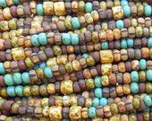 Aged Opaque San Antonio Picasso Mix Czech Glass 5mm Tile Beads and 6/0 Czech Glass Seed Beads - 20 Inch Strand (DW236)