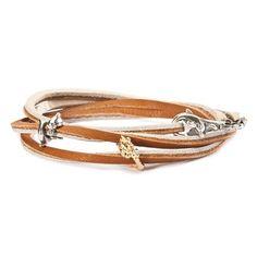 Gordon Jewelers / Trollbead Leather Bracelet, Brown/Beige