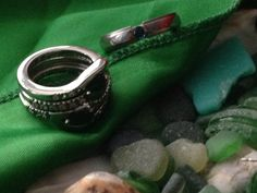 Emerald Satin and Bridal Set of 3 Hubby Ring