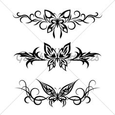 Celtic Swirl Tattoo   Set Tribal With Butterflies, Tattoo · GL Stock Images