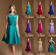 New Teal Satin Knee Length Formal Ball Party Cocktail Evening Bridesmaid Dresses in Clothes, Shoes & Accessories, Wedding & Formal Occasion, Bridesmaids' & Formal Dresses | eBay