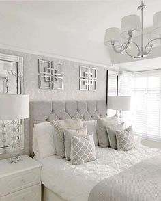 Bedroom Color Inspiration Ideas Gallery - Interior Design Ideas & Home Decoratin. Bedroom Color Inspiration Ideas Gallery - Interior Design Ideas & Home Decorating Inspiration - moercar Master Bedroom Design, Home Decor Bedroom, Silver Bedroom Decor, Bedroom Designs, White And Silver Bedroom, Bedroom Ideas For Couples Master Grey, Bedroom Rustic, Bedroom Ideas For Couples Grey, Bedroom Lamps